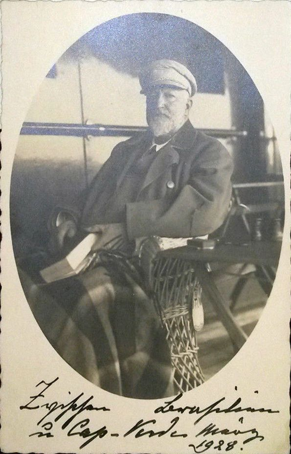 H.M. Ferdinand I, ex-king of Bulgaria, on a ship to Argentiina at Cabo Verde, 10-11 Jan. 1928.