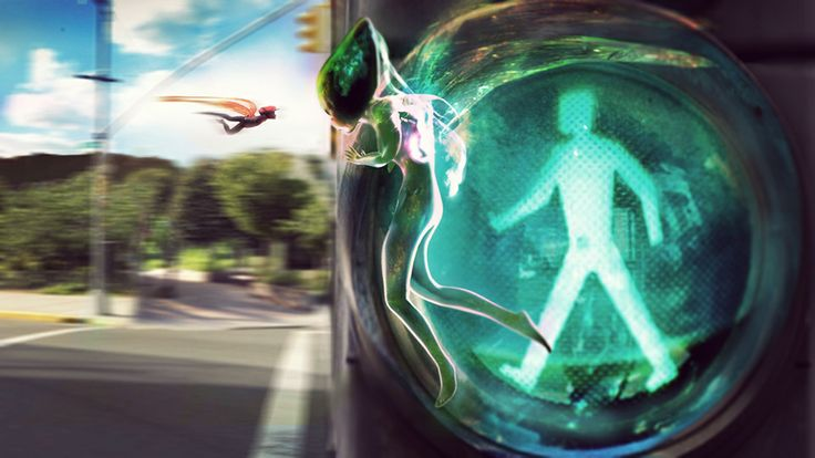 The Green #Fairy hiding behind the traffic lights 2 #ConceptArt