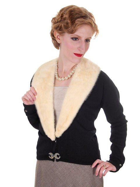 Vintage Ladies Black Cashmere Sweater w/Cream Mink Collar 1950s ...