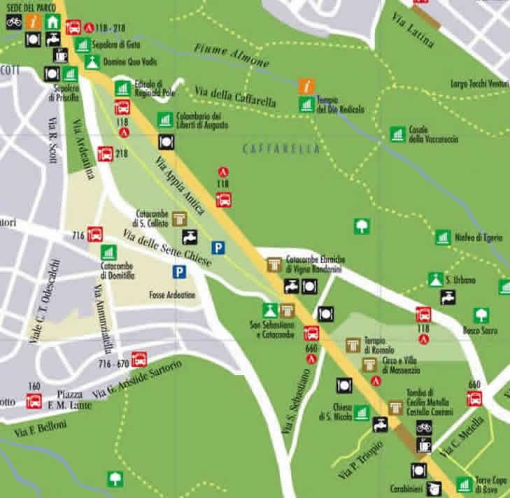 Map Of Northern Section Of Appian Way Nearest Rome
