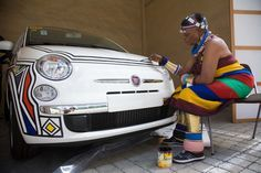 LIVING IN COLOURS: Ndebele artist Esther Mahlangu at work