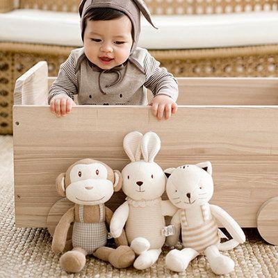오가닉 우리아기 동물친구오가닉인형 18종택1(토끼 강아지 원숭이 곰 고양이 양 외~)/애착인형/ 블레스네이 상품이미지