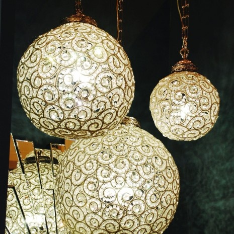 beaded chandeliersDining Room, Beads Round, Arabesque Beads, Ball Chand, Round Ball, Beads Ball, Bewley Beads, Beautiful Lights, Beads Chand