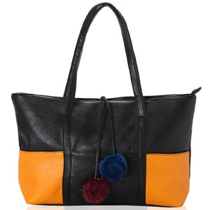 This roomy tote bag made from pure black and golden yellow grainy faux leather with sturdy straps and plenty of pockets is any women's delight. Shop Now : http://www.tajonline.com/gifts-to-india/gifts-AR5454.html?aff=pintrest2013/