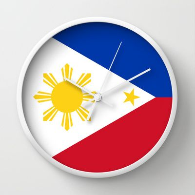 Republic of the Philippines national flag (50% of commission WILL go to help them recover) Wall Clock by Bruce Stanfield - $30.00