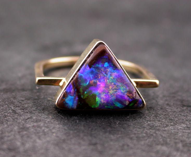 Australian Opal Ring Boulder Opal Ring Triangle Geometric Opal Ring 14K Gold Opal Ring Blue Flash Australian Opal Statement Ring Handmade