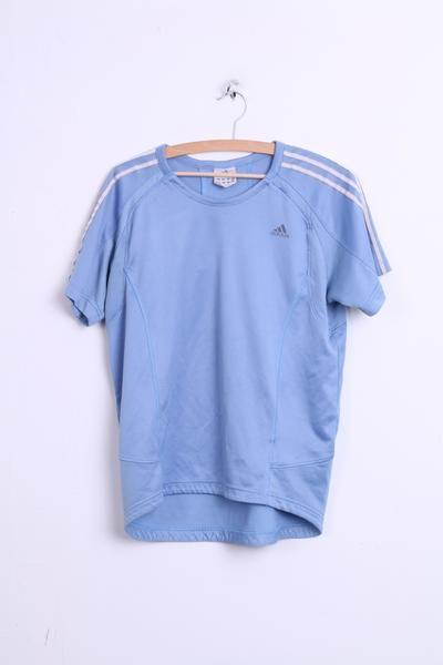 Adidas Womens M Sport T-Shirt Baby Blue 3 Stripes Top Jersey - RetrospectClothes