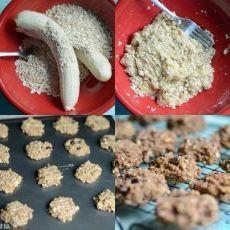 Печенье за 15 минут!    Ингредиенты:    — 2 больших старых банана  — 1 стакан геркулеса  — орехи, изюм, шоколад, корица (по желанию)    Приготовление:    1. Размять бананы с овсянкой, перемешать.  2. Готовить при температуре 350 градусов, предварительно смазав лист для выпечки маслом, 15 минут.