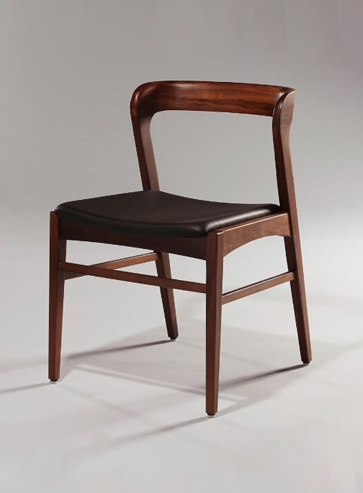 danish inspired mid century wood and leather combo chair