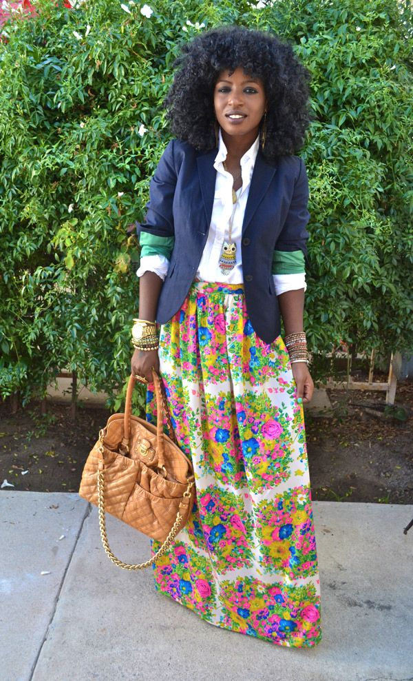 Style Pantry | Navy Blazer + White Button Up Shirt + DIY Floral Maxi Skirt