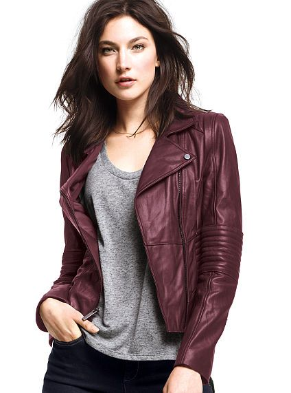 I love leather jackets and burgandy in the fall.