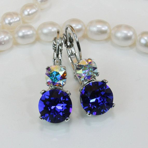 6b58d4c59 Royal Blue Bridesmaids Drop Earrings Bridal Sapphire Blue Swarovski Crystal  Earrings Royal Blue Wedding Jewelry,Silver,Majestic Blue,SE3 Matching  pendants ...