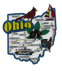 Ohio USA souvenir map state magnet. Large and colorful magnetic map with design of the state. US souvenirs of all 50 US states.  Made in USA!