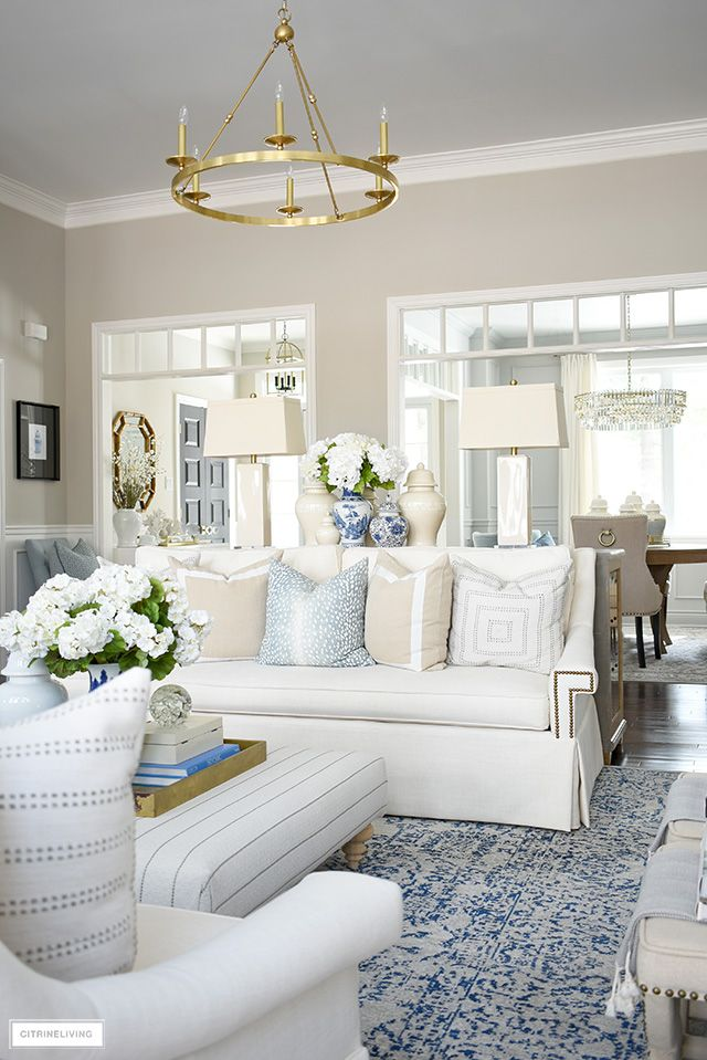 Beautiful Spring Living Room Decorating With Soft Blue Tones And Neutrals For An Fresh And Airy Lo Spring Living Room Decor Spring Living Room Home Living Room