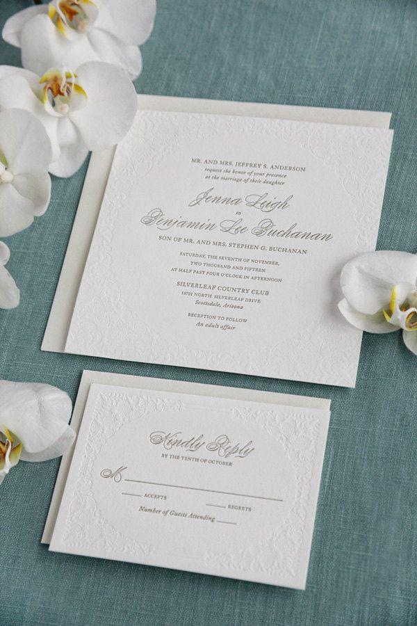 Elegant Letterpress Wedding Invitation 21 best Invitatii