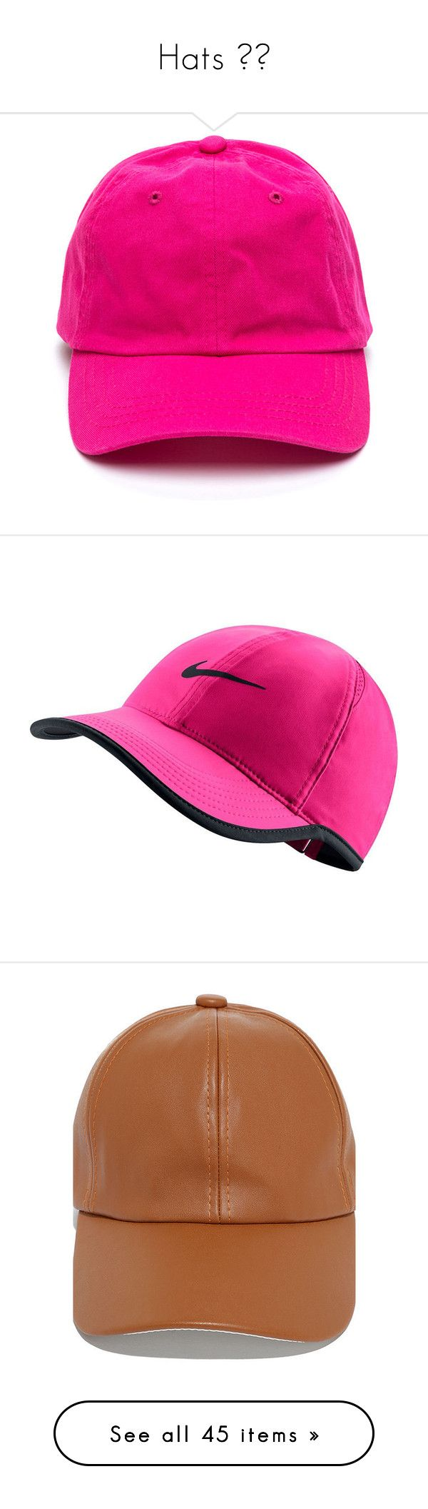 """Hats ✨💯"" by saucinonyou999 ❤ liked on Polyvore featuring accessories, hats, pink, cap hats, ball cap, pink hat, snapback hats, adjustable hats, light red and embroidered baseball caps"