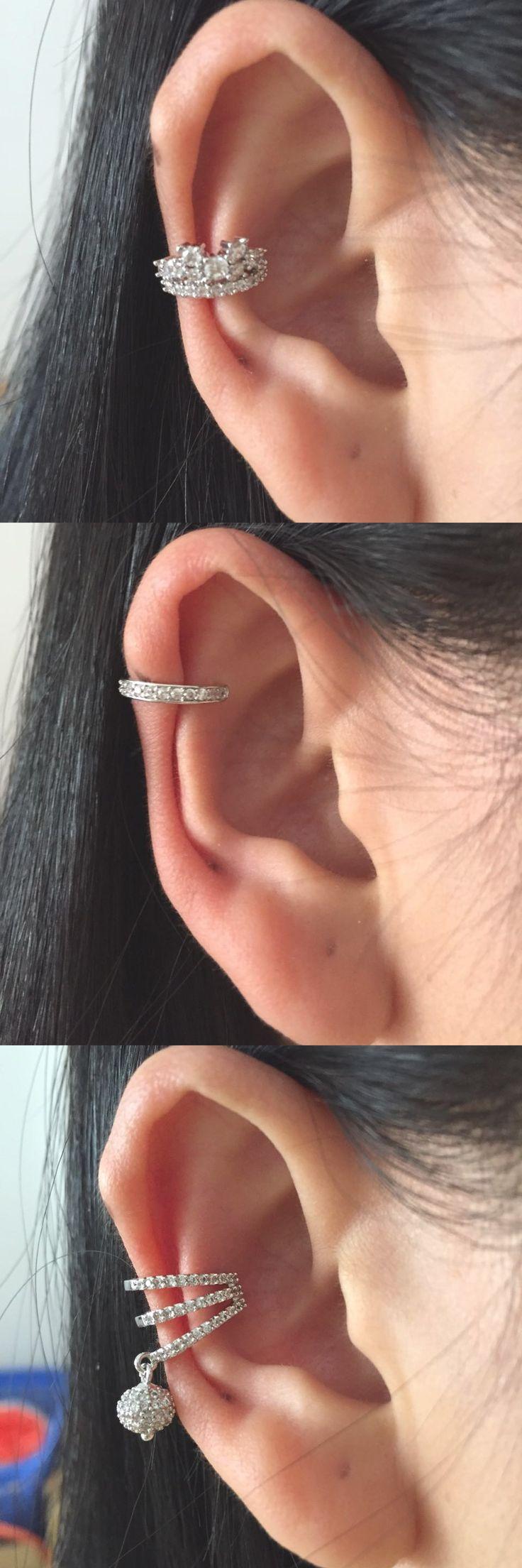 Classy Ear Piercing Ideas for Women at MyBodiArt.com - Upper Ear Cartilage Earring - Conch Ring - Fake Piercing Ear Cuff for Helix Hoop Silver Crystals