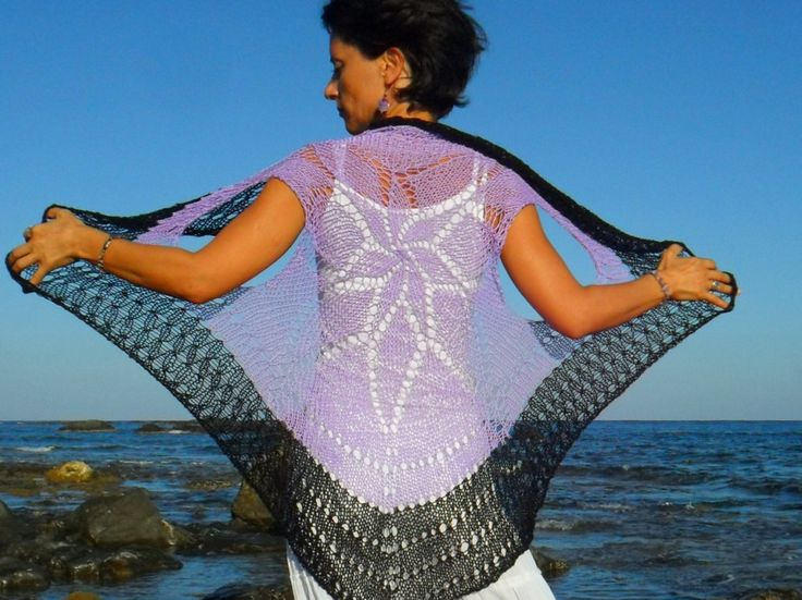 Hand knitted, lilac and black round vest by SimonaStyleByHand on Etsy