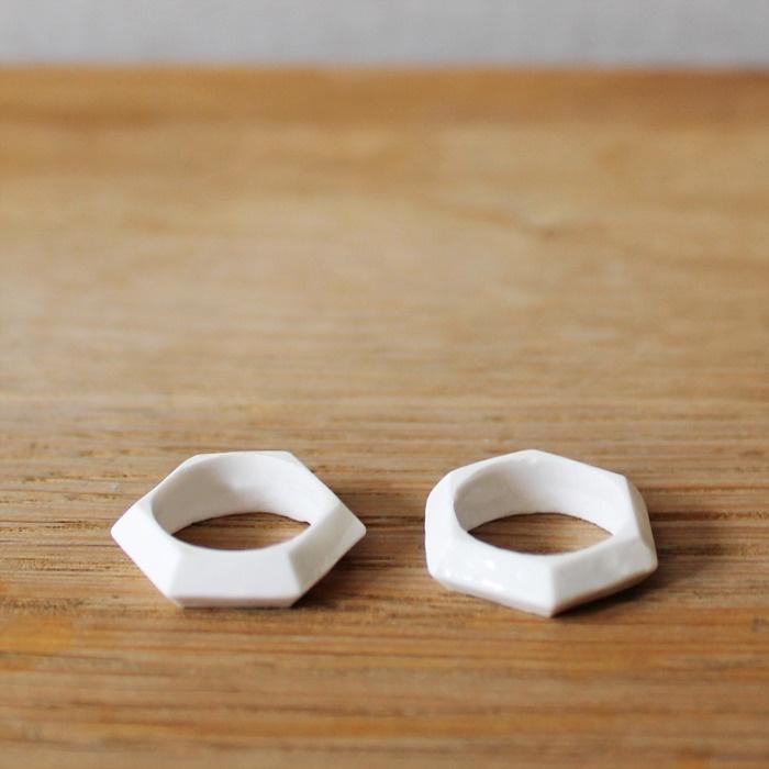 Moko Sellars. Ceramic jewellery - Sliced Diamond Bone China Ring