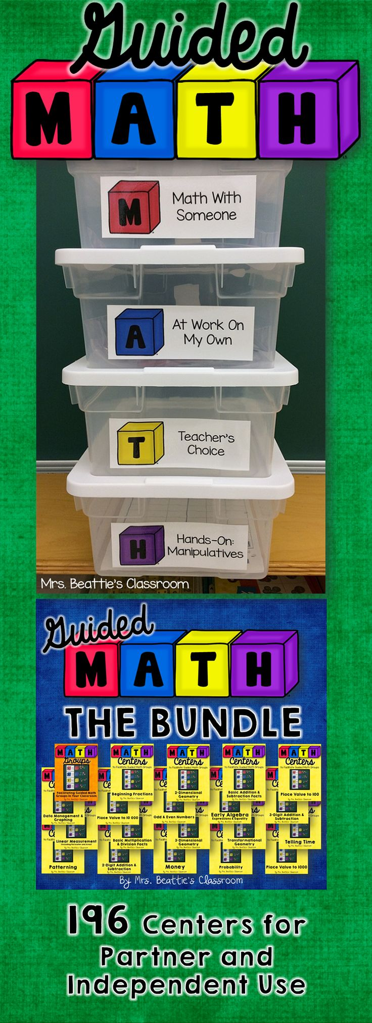 Using a Guided Math or Daily 5 Math approach in your classroom? Grab these Guided Math resources from Mrs. Beattie's Classroom in one low-cost bundle!! Click to check out the great reviews! #guidedmath #centers #handson #classroom
