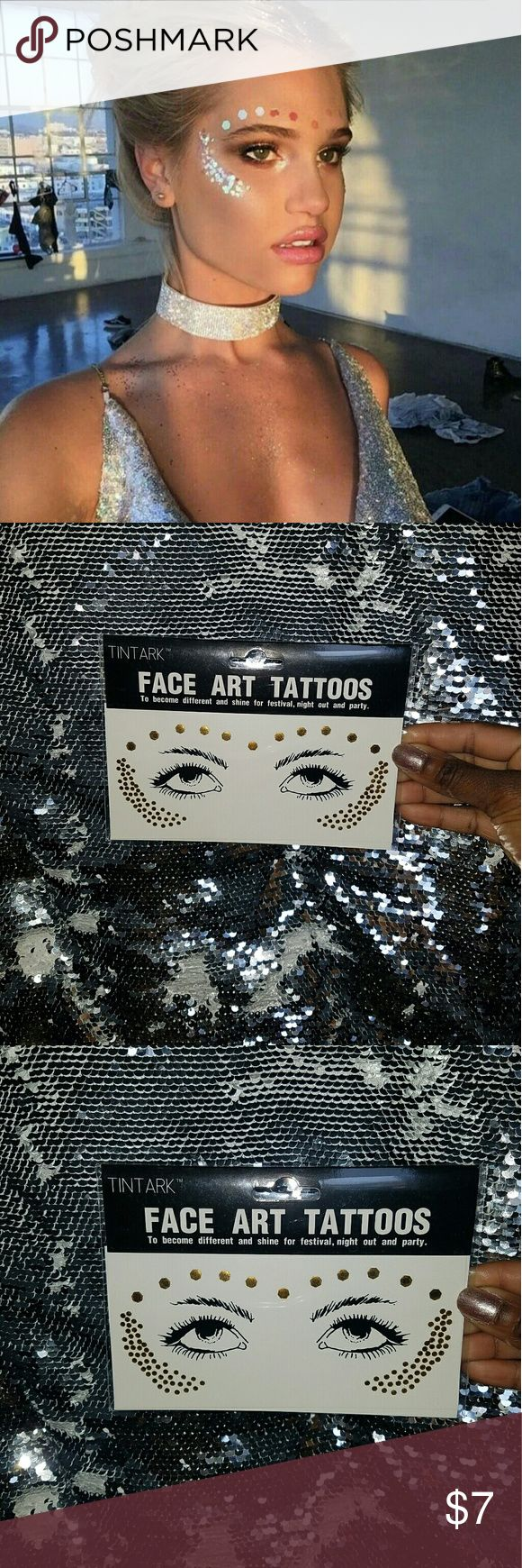 Gold temporary face tattoo 100% brand new and high quality  1pc tattoo sticker  *Warning* ❌ Sensitive skin ❌Pregnant women  ❌Children under 3 years of age  ❌Do not put close to eyes Accessories