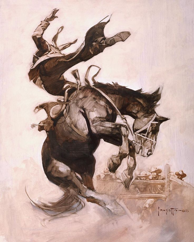 "#FrankFrazetta ""Bucking Bronco"" •1975•  Oil on Board •••••••••••••••••••••••••••••••••••••••••••• #Frazetta #FantasyArt #SciFi #Art #Painting #OilPainting #Illustration #Western #Bronco #Horse #Cowboy"