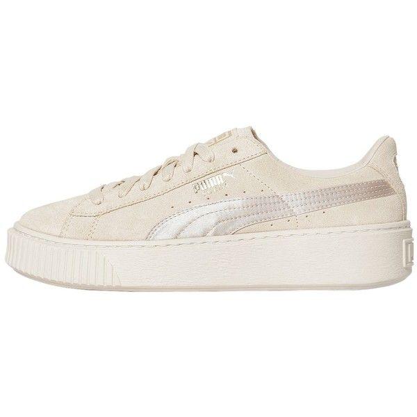 Puma Select Women Basket Platform Suede Satin Sneakers ($150) ❤ liked on Polyvore featuring shoes, sneakers, beige, platform trainers, puma footwear, beige satin shoes, beige sneakers and puma trainers