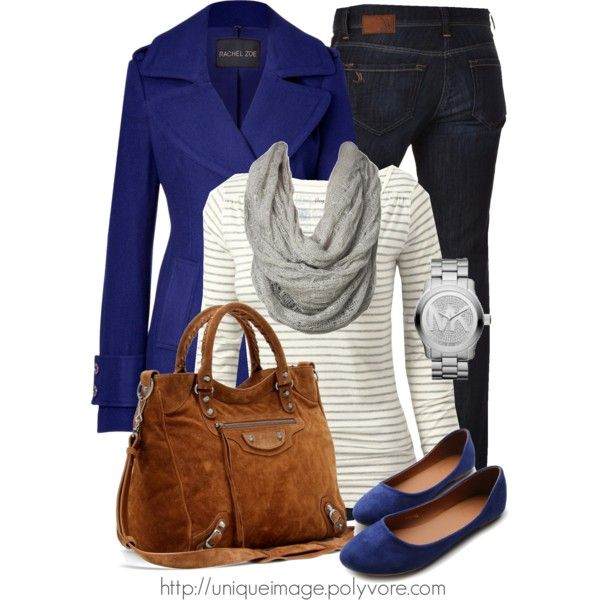 Women Outfit, Jean SKIRT instead Blue coat, gray & white stripe sweater,