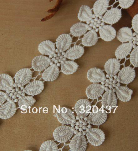 Хлопок кружева-вышивка цветок молочная белый хлопок водорастворимая вышивка цветок аппликация 4 см