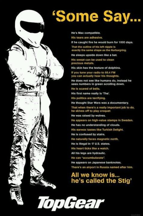 The Stig. I love it when Jeremy says these. They are so funny. I love The Stig. I want to meet him. ~The Doctor