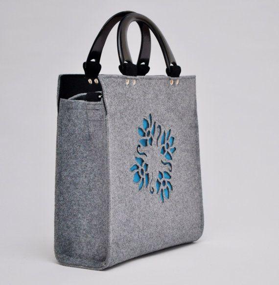 Chick felt handbag with stylish central design by CelticSecrets