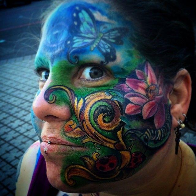 Full facial tattoo Bathroom Fingering