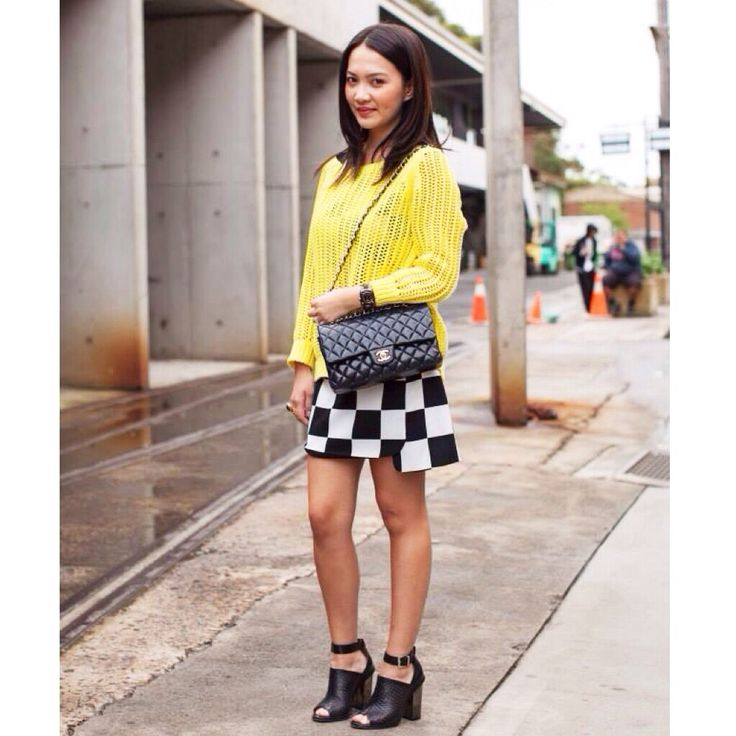 Fluoro yellow Asos knit and Korean boutique check dress. Accessories - Chanel bag & wittner heels.