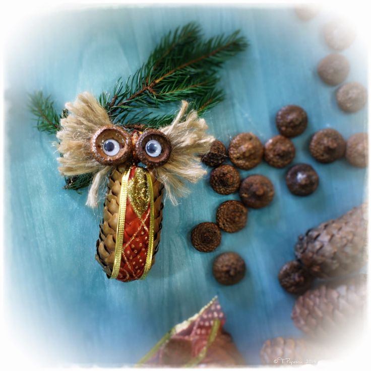 Owl Christmas Ornaments - made from pine cones, acorns caps, jute twine, mobile eyes, Christmas ribbon