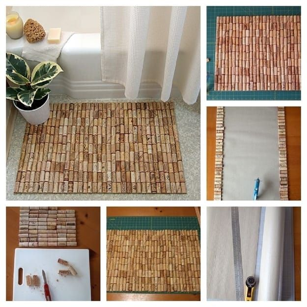 Cut corks in half and glue them to a shelf liner, as shown in this tutorial.