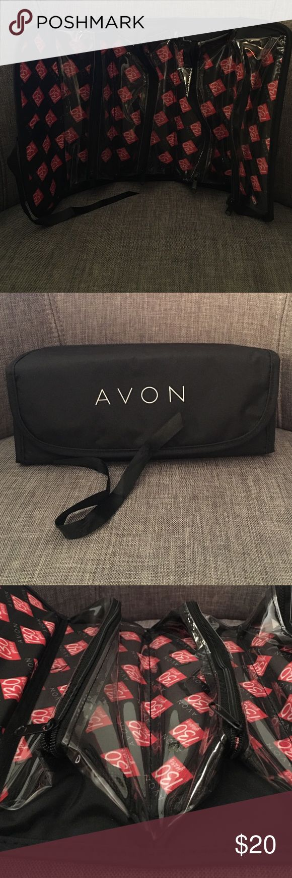 🌷AVON makeup or jewelry case 🌷AVON makeup or jewelry case. Never used. Great for travel. Bag has 4 clear zippered compartments and conveniently rolls up into a easy packing rectangular shape. Bag measures 9x3 rolled up Avon Bags Cosmetic Bags & Cases