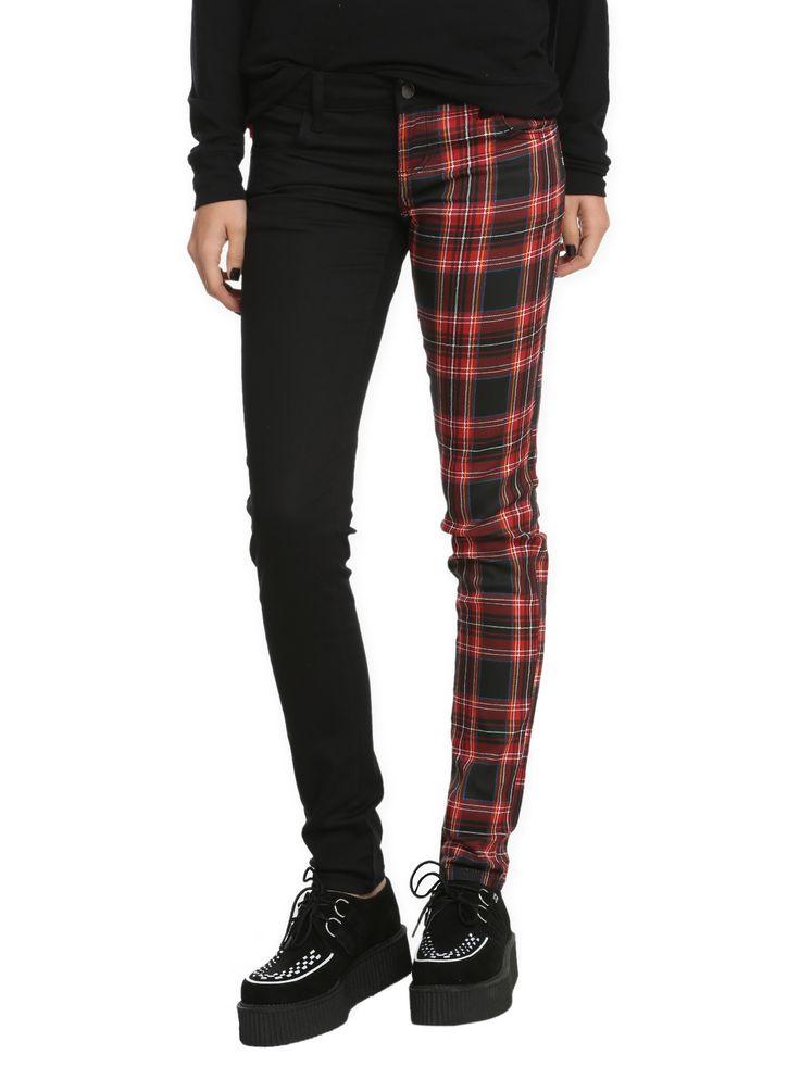 $39.50 or $27.60 Royal Bones Split Leg Black Red Plaid Skinny Pants Hot-Topic