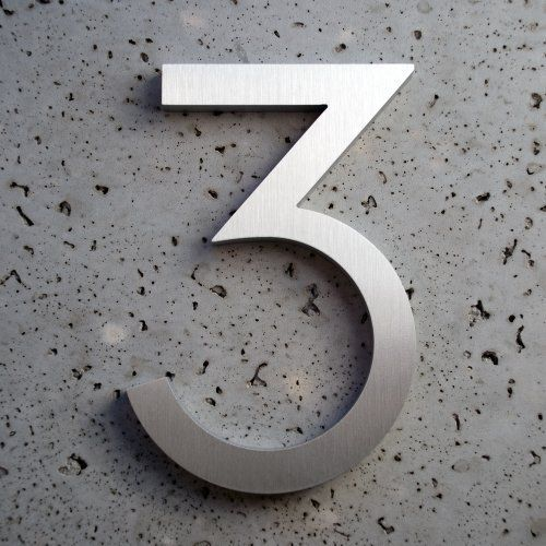 "Modern House Number Aluminum Modern Font Number Three 3 - 8 inch by Moderndwellnumbers.com. $35.99. Clear protective coating to withstand extreme conditions. Modern font. Recycled 3/8"" thick aluminum billet. Size 8"" Tall. Modern House Numbers. We provide high quality house numbers. All of our house numbers are made from recycled 3/8"" thick aluminum billet. available sizes 4"" 6"" 8"" 12"" 15"" tall, with 1/2"" standoffs standoffs and installation template. Each number has a..."