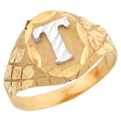 14k Two Tone Gold Diamond Cut Letter T Checkered Design 1 2cm