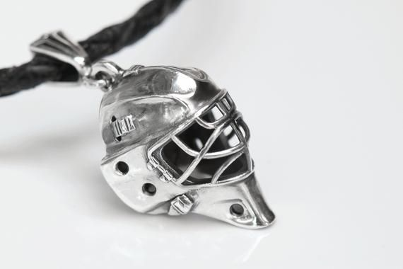 Personalized Hockey Goalie Helmet Pendant Hockey Goalie Mask Gift For Goalie Ice Hockey Jewelry Silver Chain Personalized Gift Hockey Jewelry Goalie Lacrosse Shirts