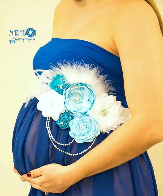 Couture MATERNITY SASH / Blue and  White/ Its by ATARAHSCREATIONS