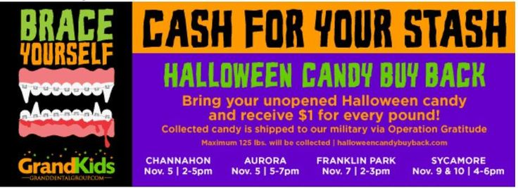 Halloween Candy Buy Back events start this week at Grand Dental offices and run for several days! #halloweencandybuyback