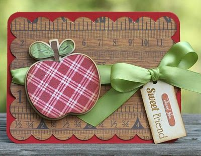handmade card ... for a teacher? ... sweet apple cut from red plaid paper and backgroud layer with scalloped edges from a ruler print paper ...