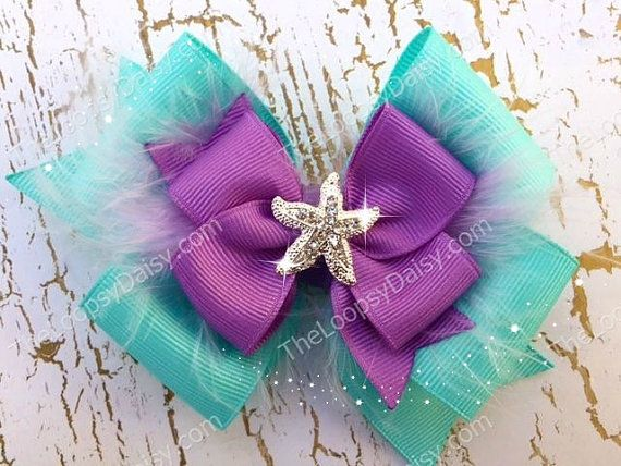 Ariel Hairbow Little Mermaid Disney Princess by TheLoopsyDaisy