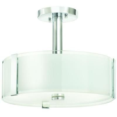 Home decorators collection bourland 14 in 3 light polished chrome semi flushmount with glass drum shade