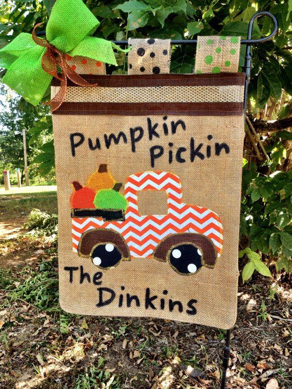 Fall Garden Flag Pumpkin Garden Flag Truck by TallahatchieDesigns