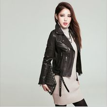 Yeni moda siyah ceket 2016 zipp bombardıman motosiklet Deri ceketler kadın Postu Deri marka ceket Eqaulet jaqueta couro(China (Mainland))