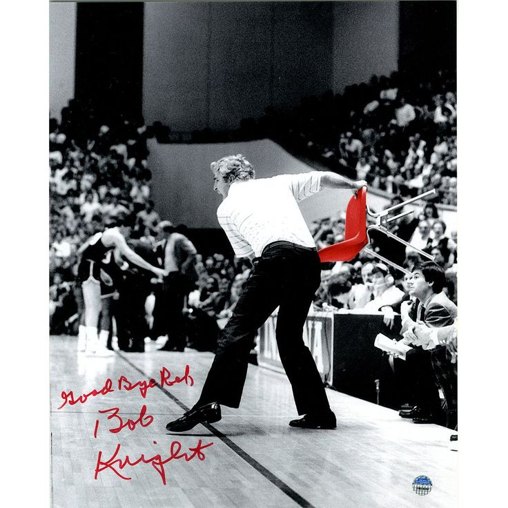 Bob Knight Signed Throwing Chair B&W w/ Red Chair 8x10 Photo w/ 'Good Bye Ref' Insc.