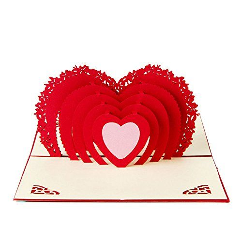 Doober 3D Pop Up Card Heart To Heart Anniversary Valentine Thank You  Christmas Birthday **