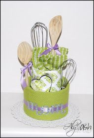 Tea Towel Cake.  Would make a cute bridal shower centerpiece.